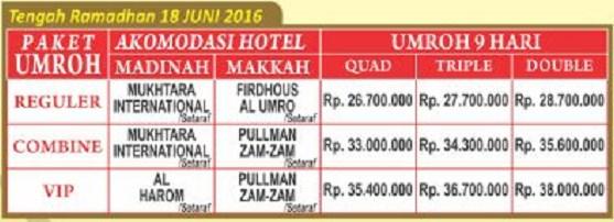 Paket Umroh tengah ramadhan 18 jun 2016