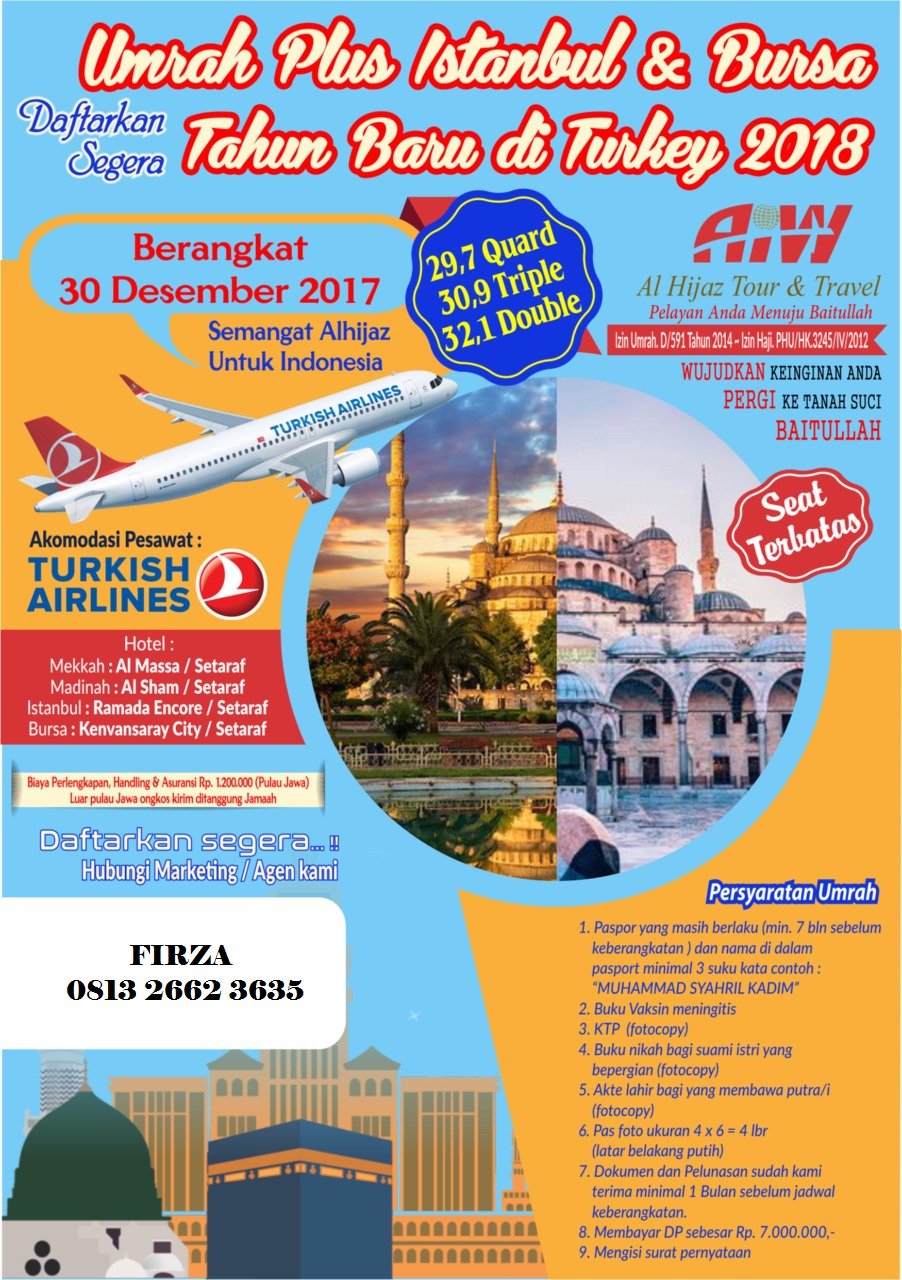 Umroh plus Istanbul dan Bursa 30 Desember 2017