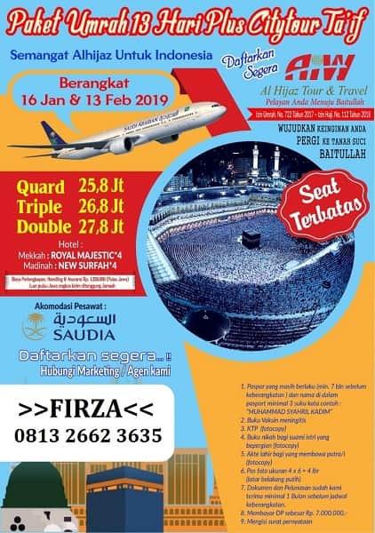 Paket Umroh Plus Thaif 13 hari