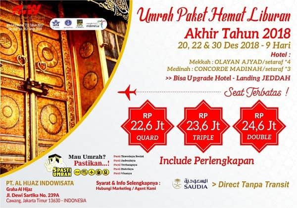 Paket Umroh Akhir Desember 2018 Promo