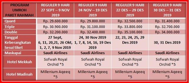 Paket Umroh Reguler 2019 Fasilitas Hotel *5